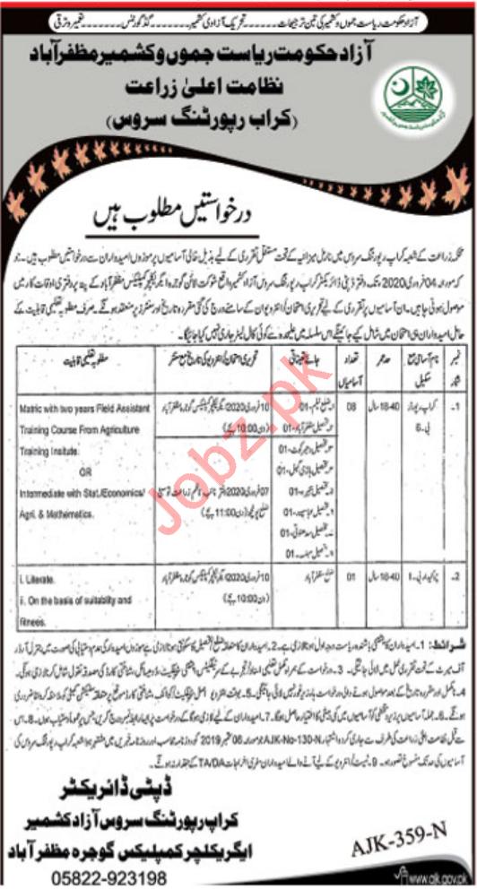 Agriculture Department Jobs For Crop Reporter & Chowkidar