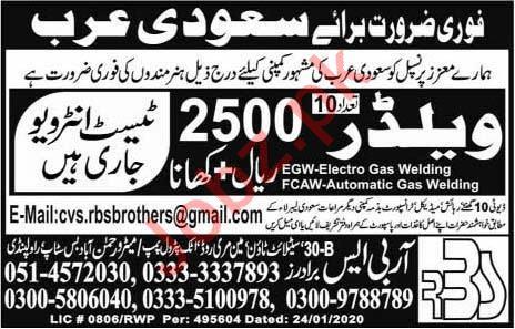 Welder Job 2020 in Saudi Arabia
