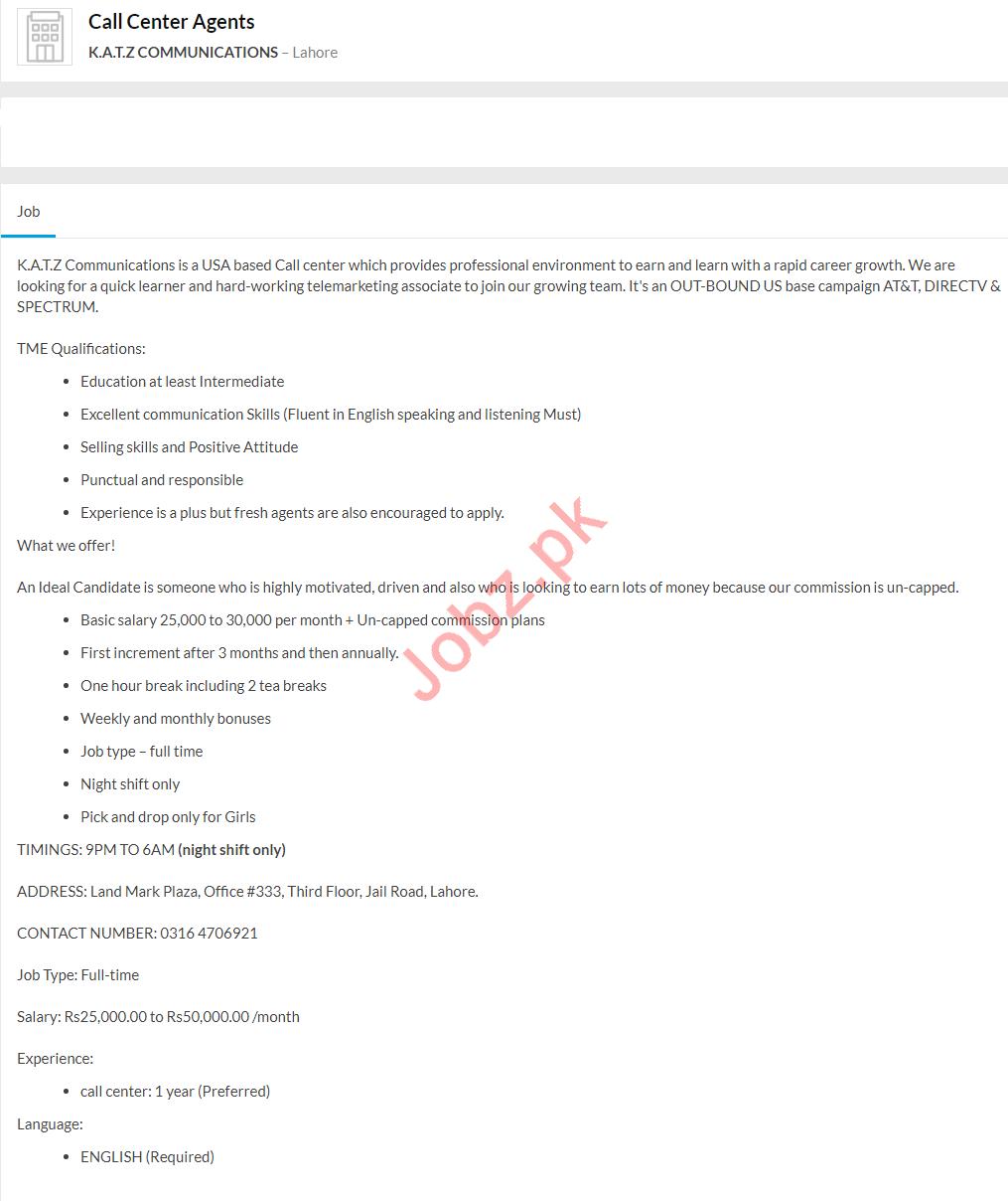 KATZ Communications Jobs 2020 For Call Center Agents