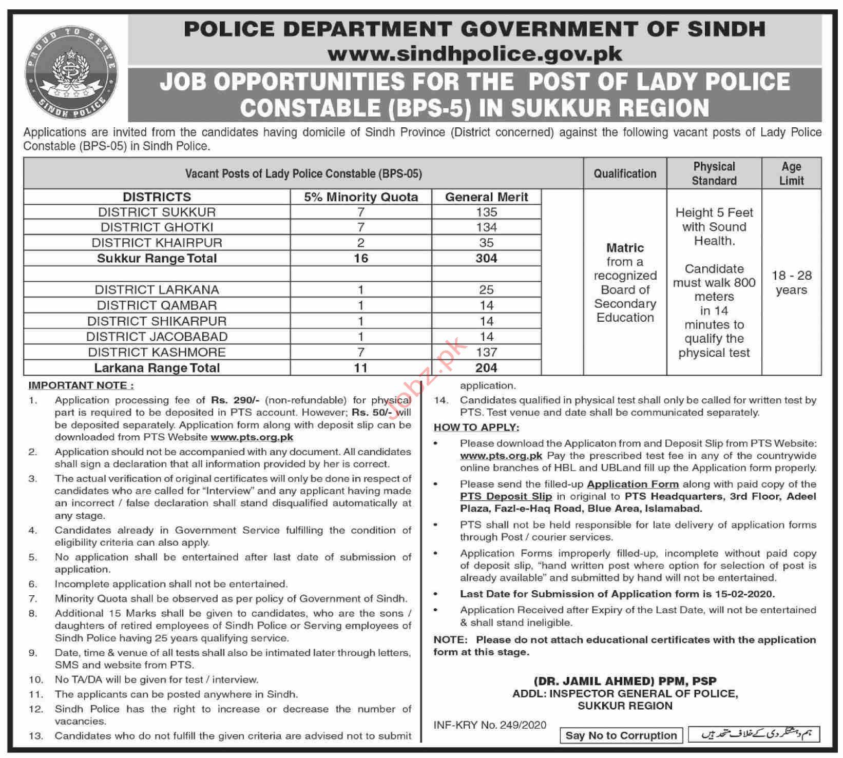 Police Department Govt of Sindh Sukkur Jobs 2020 Via PTS