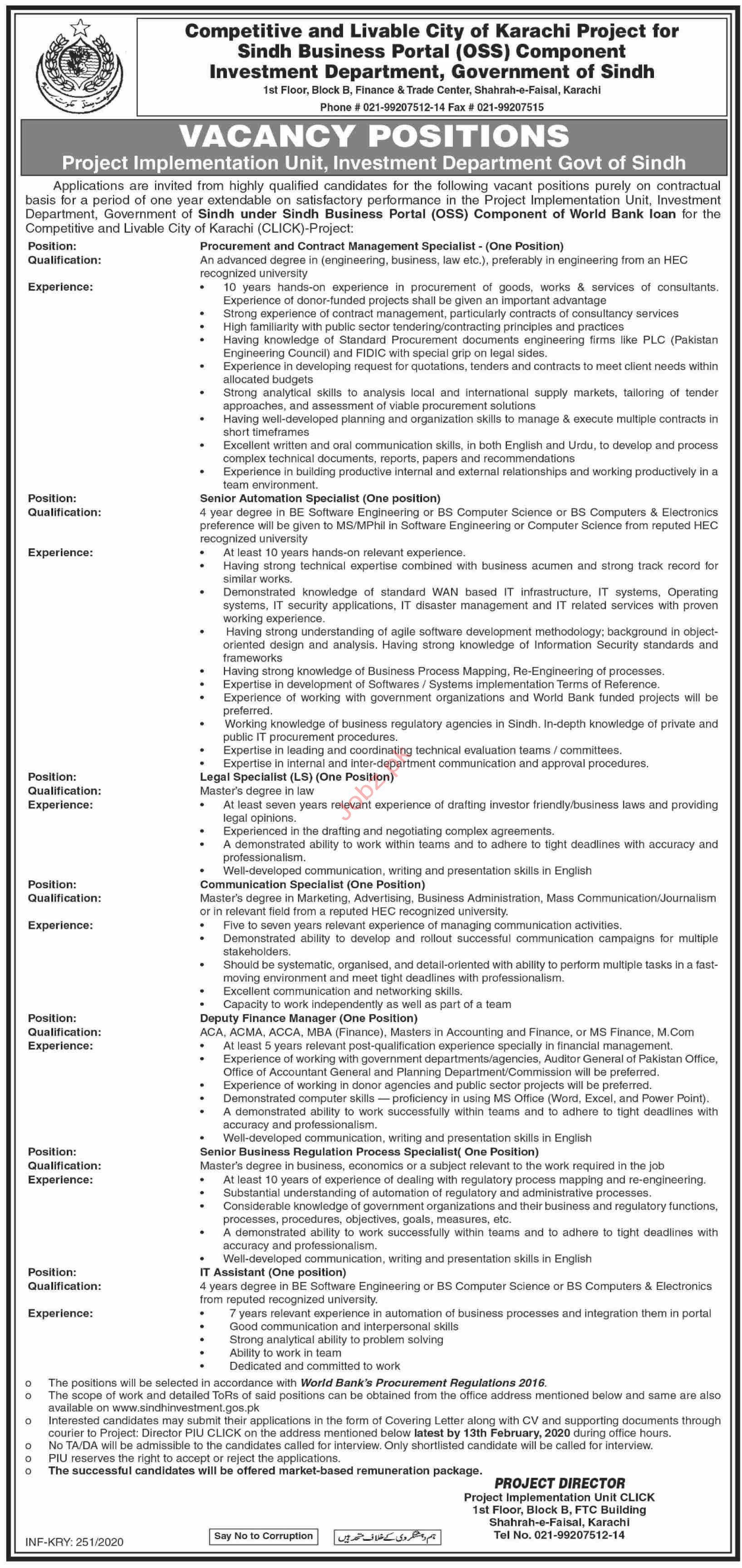 Investment Department Govt of Sindh Jobs 2020