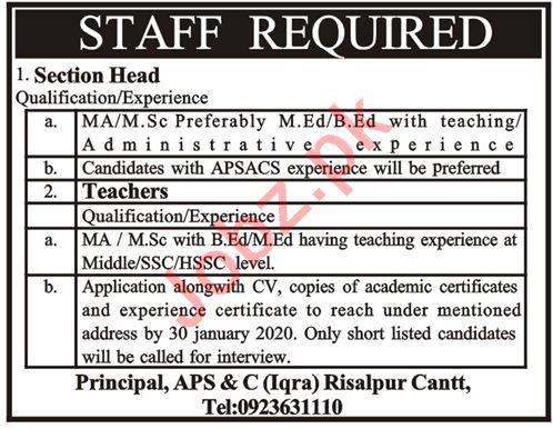 Army Public School & College Jobs 2020 in Risalpur