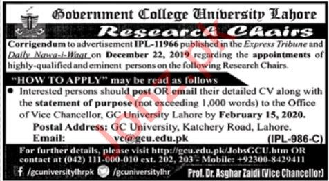 Government College University Jobs 2020 For Research Chairs