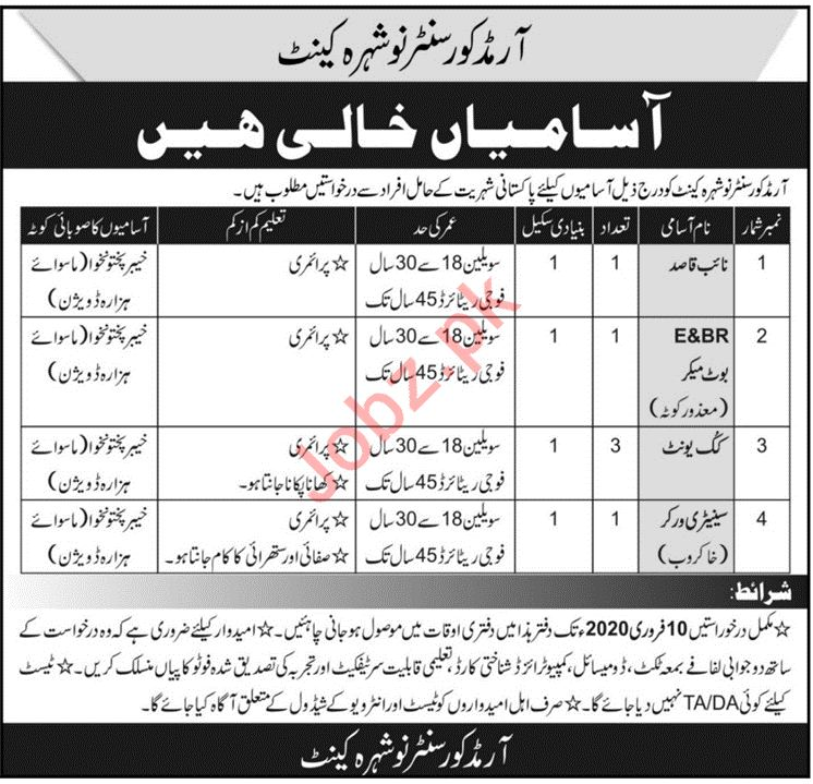Armed Core Centre Nowshera Cantt Jobs 2020