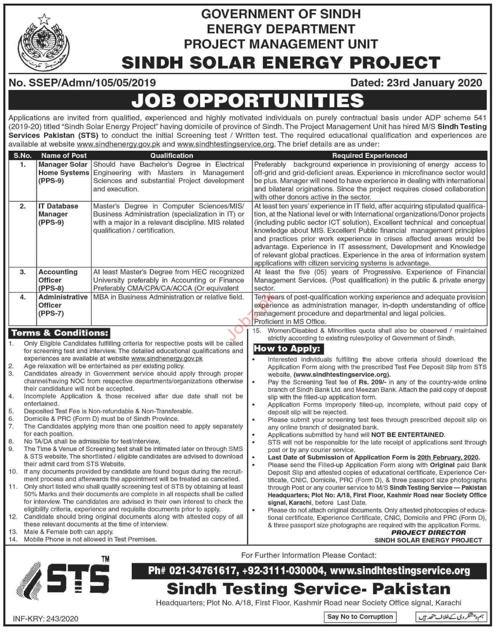 Energy Department Govt of Sindh Jobs 2020 Via STS