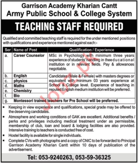 Garrison Academy Kharian Cantt Jobs For Teaching Staff