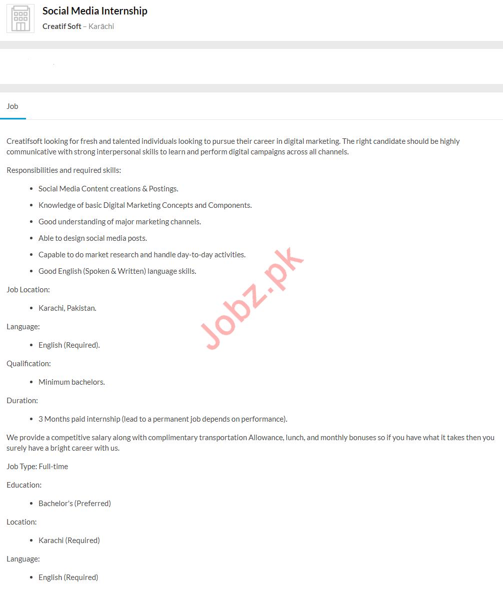 Social Media Internship Job 2020 in Karachi