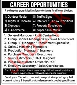 General Manager & Group Finance Manager Jobs 2020