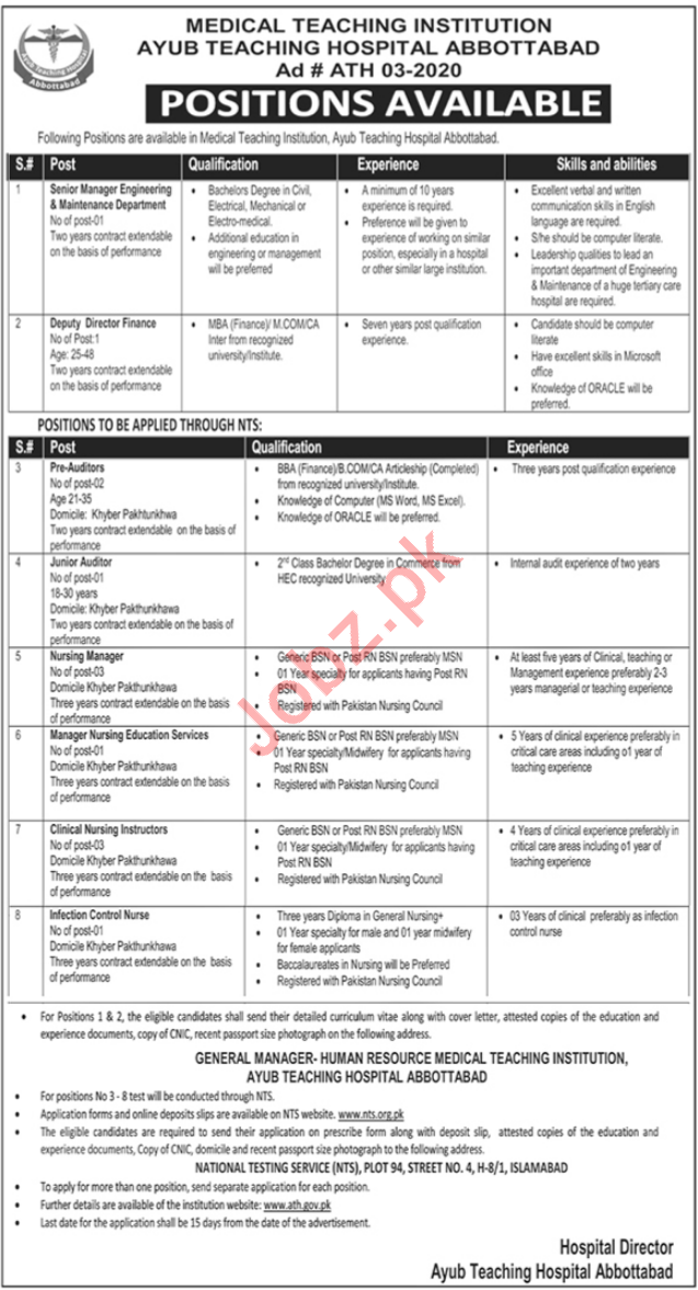 Ayub Teaching Hospital ATH MTI Jobs 2020 via NTS