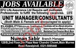 Efu Life Assurance Ltd Rawalpindi Jobs 2020