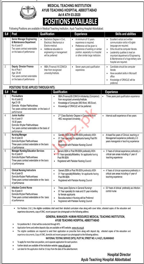 Ayub Teaching Hospital MTI Abbottabad Jobs 2020 Via NTS