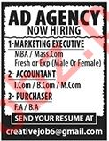 AD Agency Jobs 2020 for Marketing Executive &Accountant