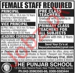 Teaching Staff Jobs in The Punjab School