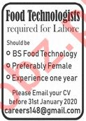Food Technologist Jobs 2020 in Lahore