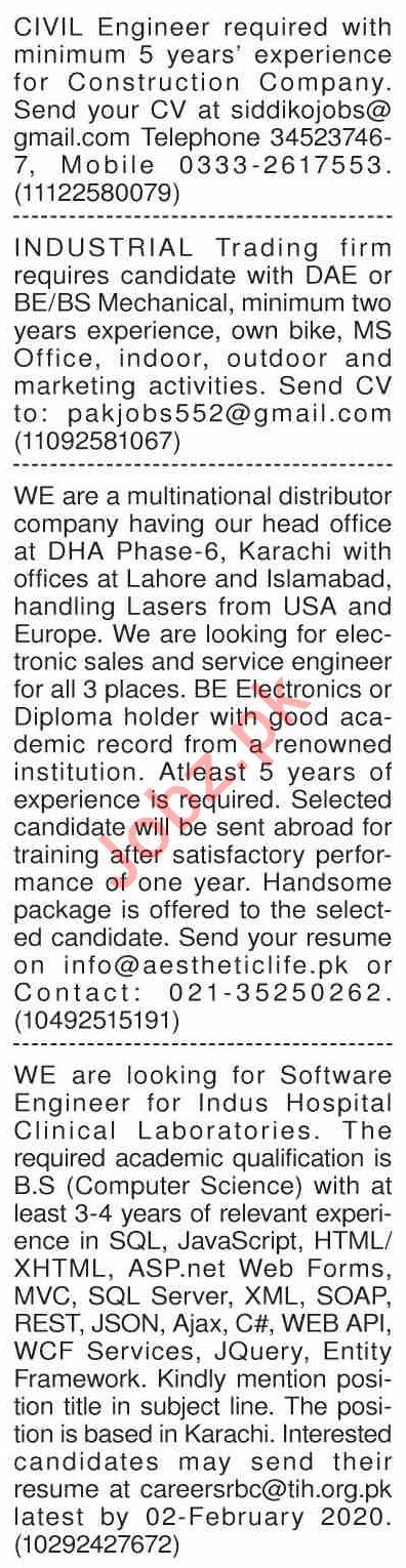 Dawn Sunday Classified Ads 26 Jan 2020 for Engineering Staff