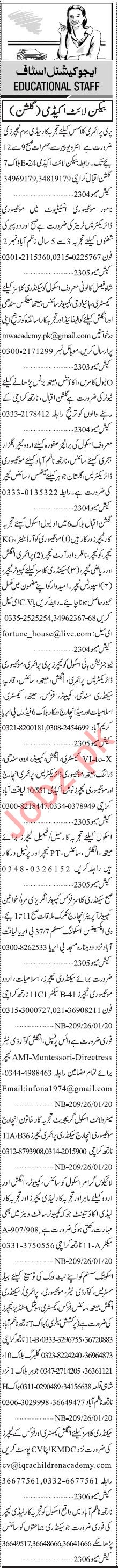 Jang Sunday Classified Ads 26 Jan 2020 for Educational Staff