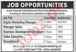 Real Estate Marketing Company Jobs in Rawalpindi 2020