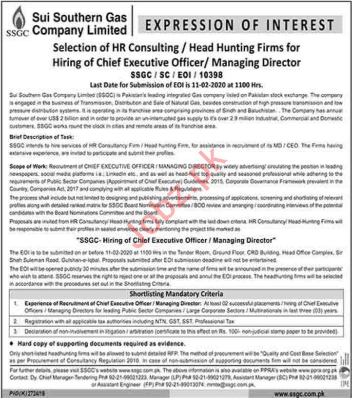 Sui Southern Gas Company Limited SSGC Jobs 2020