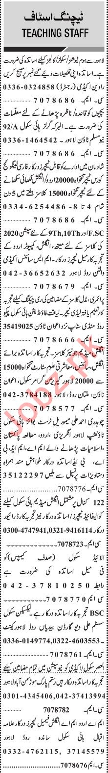 Jang Sunday Classified Ads 26 Jan 2020 for Teaching Staff