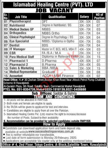 Islamabad Healing Centre (Pvt) Ltd Rawalpindi Jobs 2020