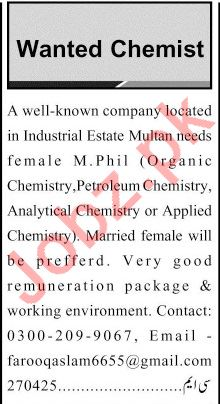 Female Chemist Jobs Career Opportunity