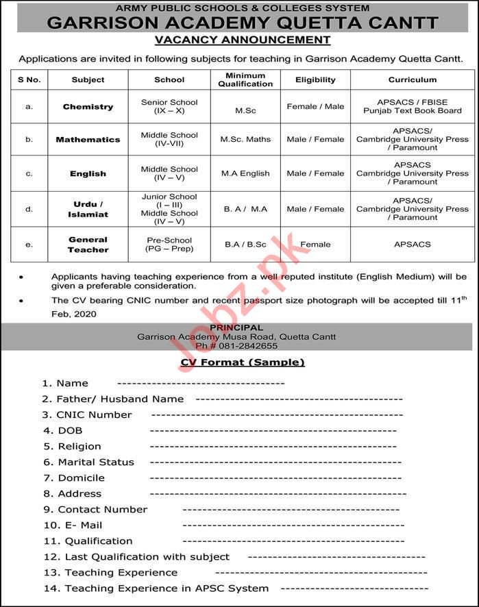 Garrison Academy Jobs For Teaching Staff in Quetta Cantt
