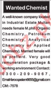 Female Chemist Jobs Career Opportunity