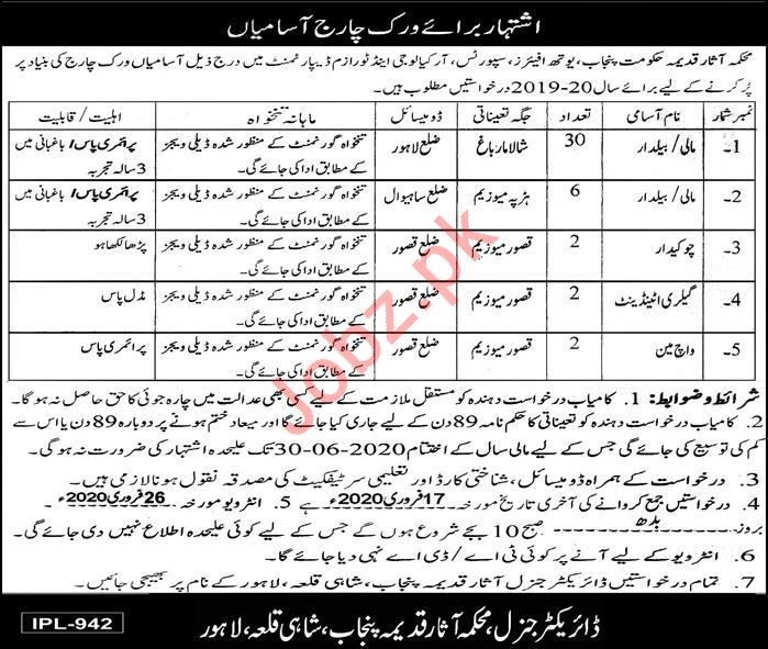 Youth Affairs Sports Archaeology & Tourism Department Jobs