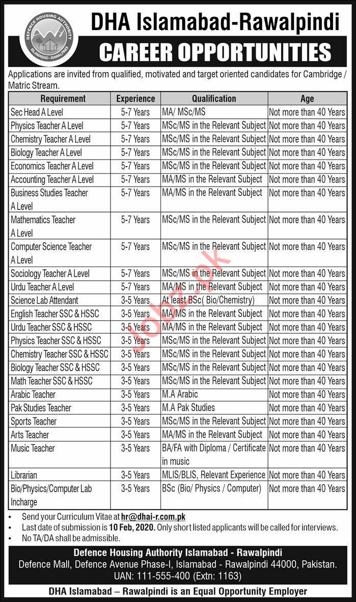Defence Housing Authority DHA Jobs in Islamabad & Rawalpindi