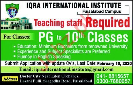 Iqra International Institute Jobs 2020 For Teaching Staff