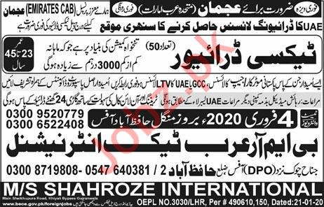 Emirates CAB Taxi Company Jobs 2019 For LTV Taxi Driver