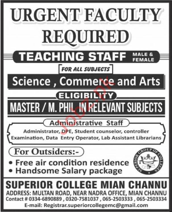 Teaching Staff Jobs in Superior College Main Channu