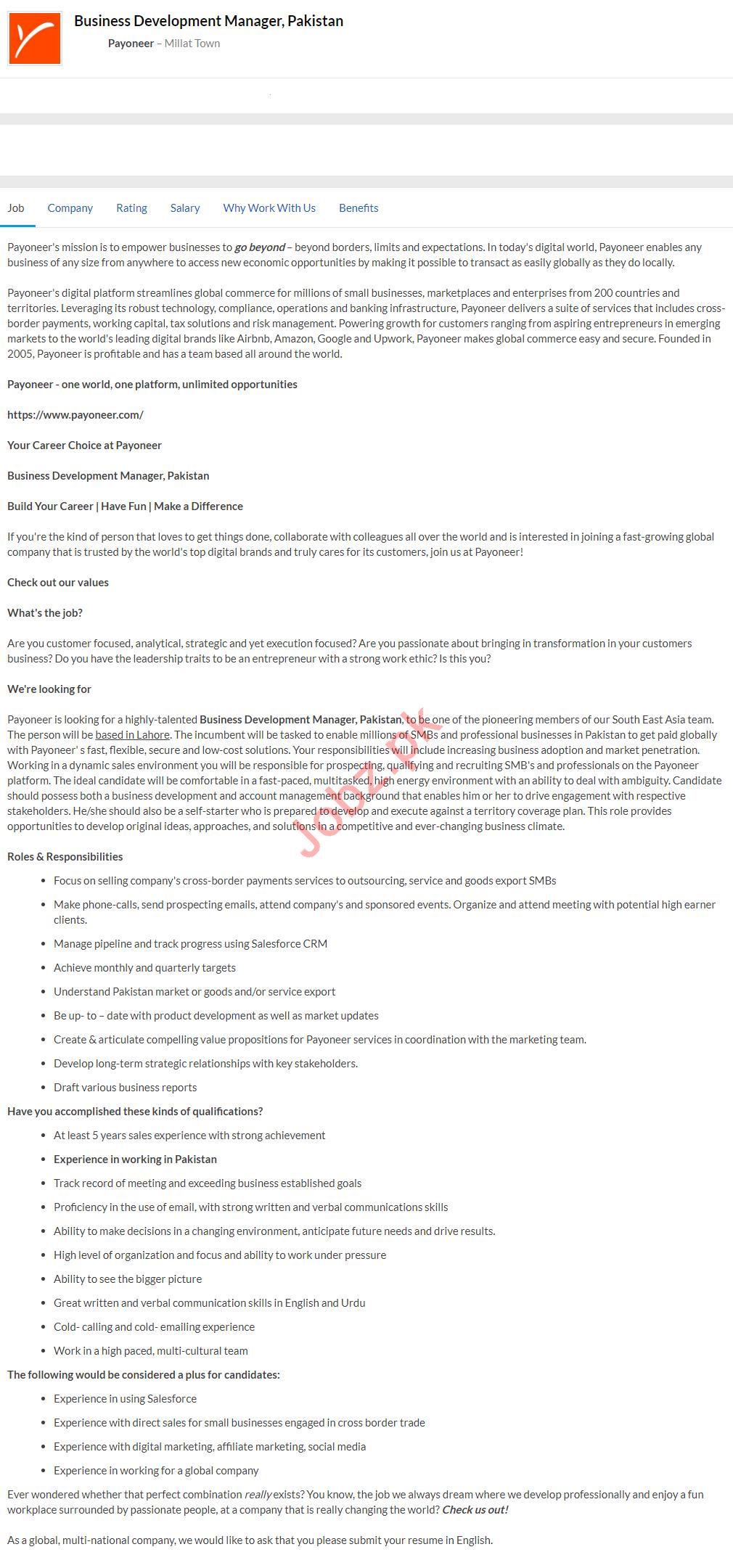 Business Development Manager Jobs 2020 Payoneer Pakistan
