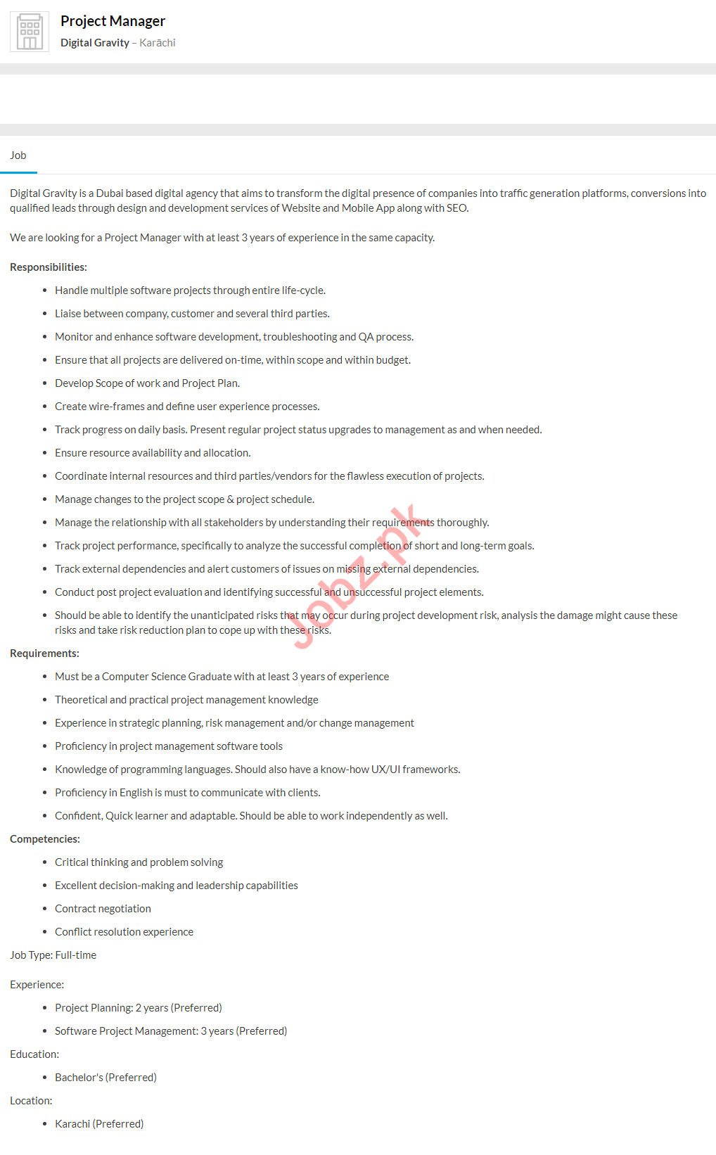 Digital Gravity Karachi Jobs 2020 for Project Manager