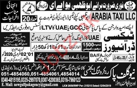 Taxi Driver Jobs in Abu Dhabi UAE
