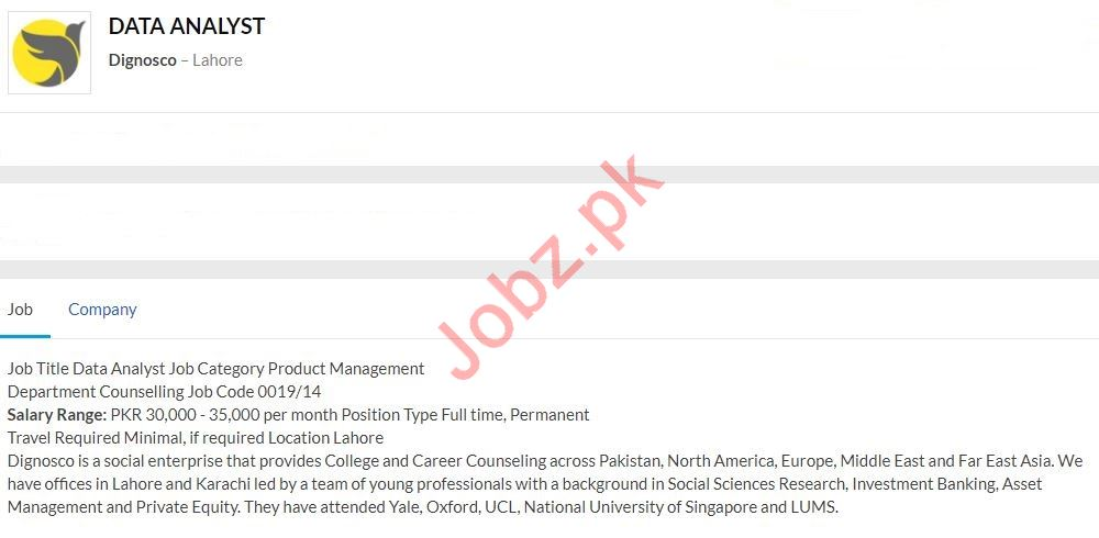 Data Analyst Job 2020 in Lahore