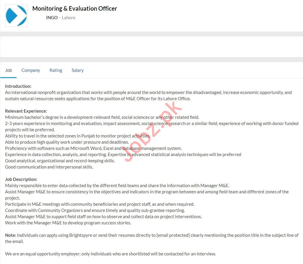 Monitoring & Evaluation Officer Jobs 2020 in Lahore