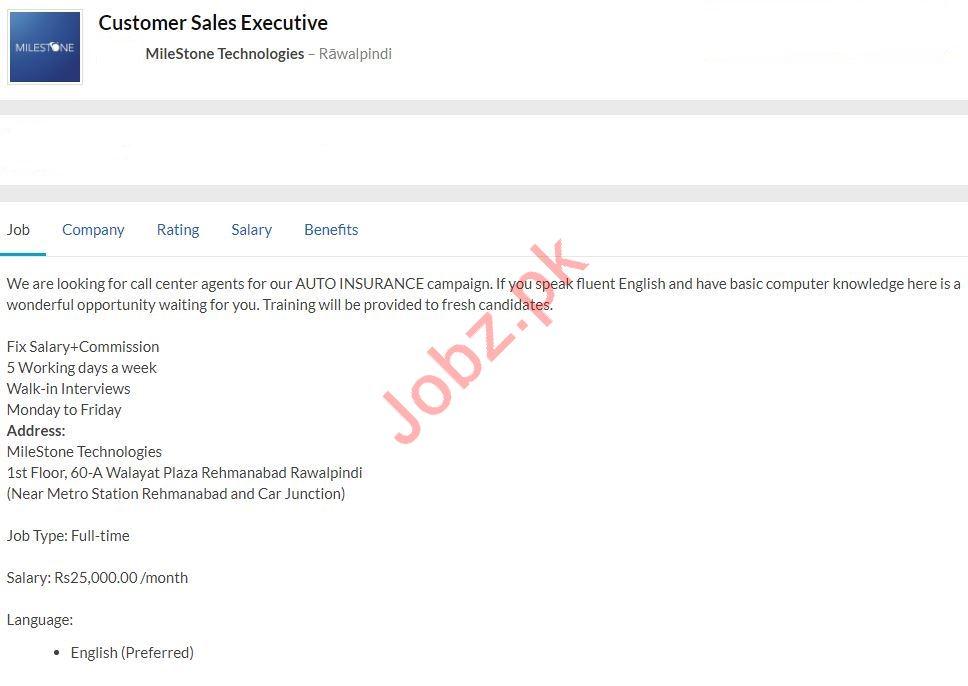 Customer Sales Executive Job 2020 in Rawalpindi