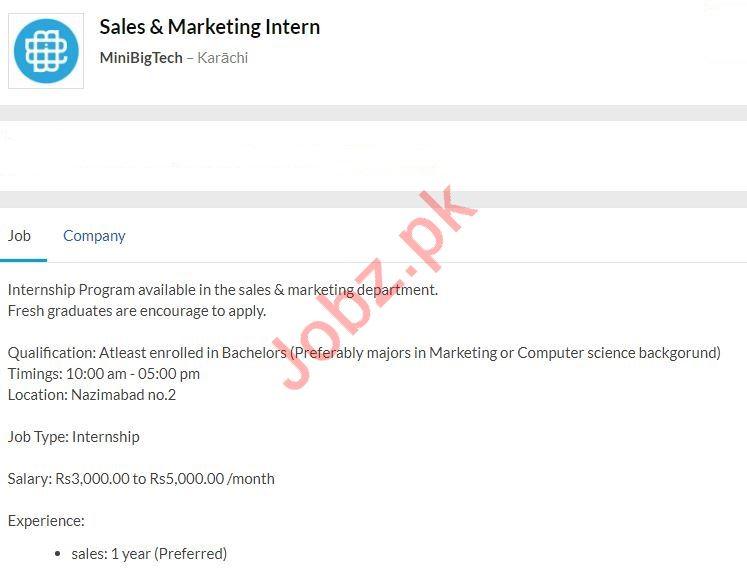 Sales & Marketing Intern Job 2020 in Karachi