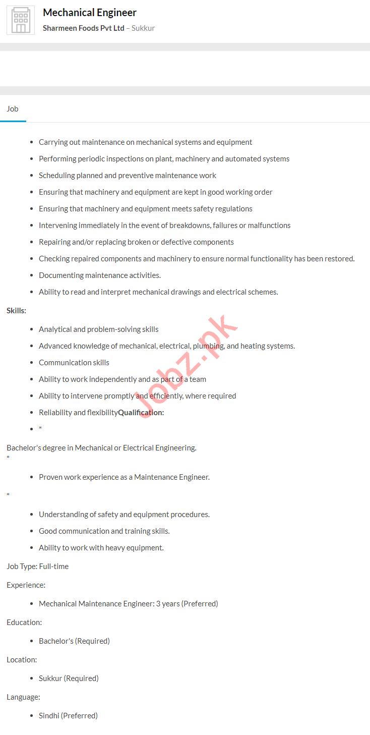 Mechanical Engineer Job 2020 in Sukkur