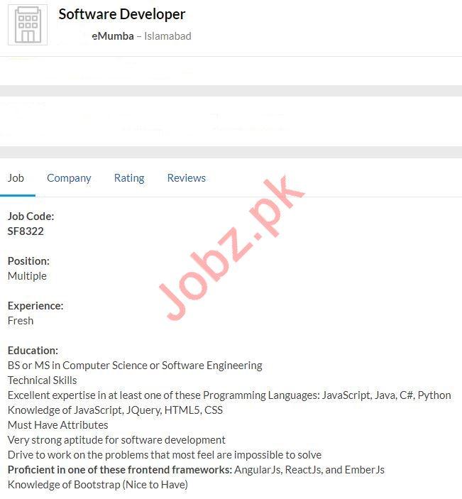 Software Developer Job 2020 in Islamabad