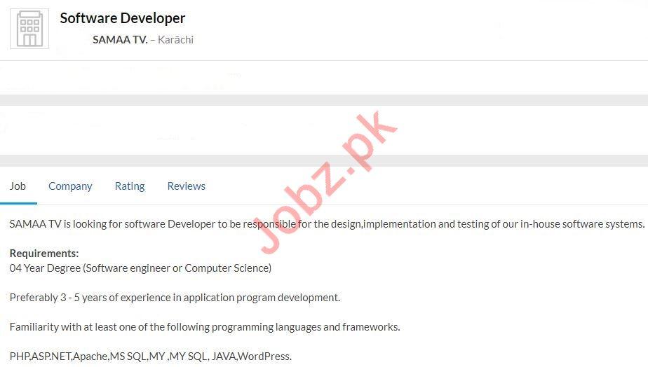 SAMAA TV Job 2020 For Software Developer in Karachi
