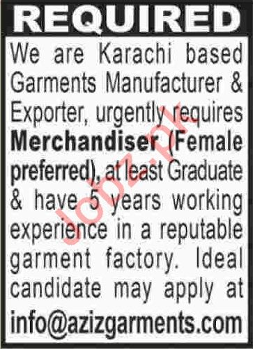 Merchandiser Jobs 2020 Career Opportunity in Karachi