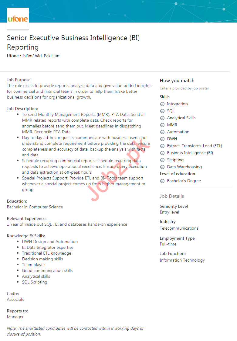 Executive Business Intelligence Reporting Jobs in Ufone