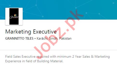 Grannitto Tiles Karachi Jobs 2020 for Marketing Executive