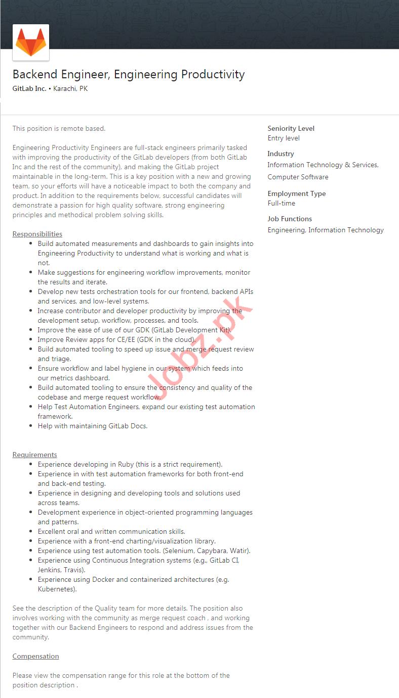 GitLab Inc Karachi Jobs 2020 for Engineers