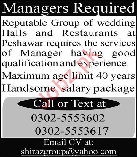 Managers Jobs For Wedding Halls & Restaurants in Peshawar