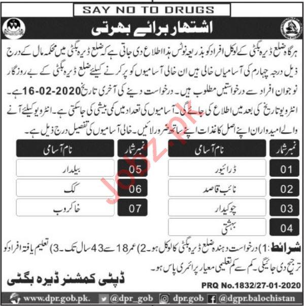 Finance Department Jobs 2020 in Dera Bugti Balochistan