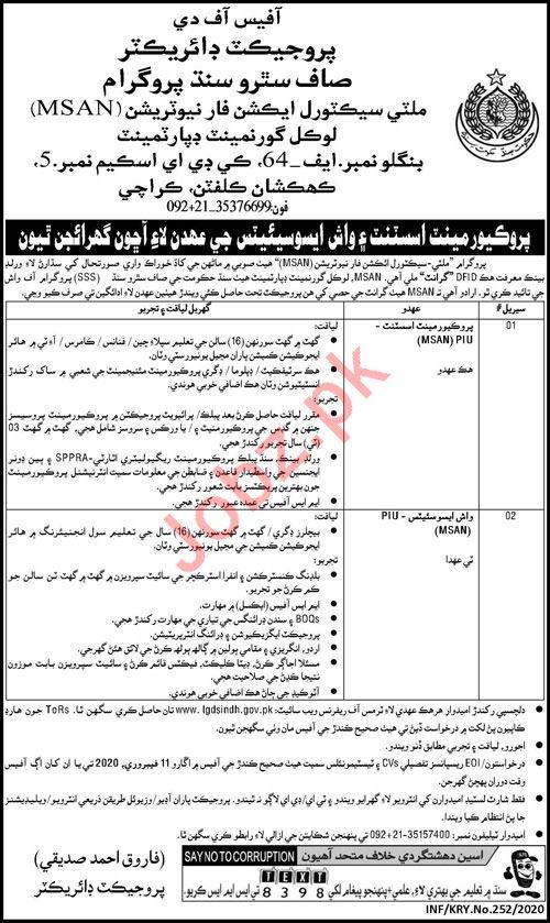 Local Government Department Jobs 2020 in Karachi