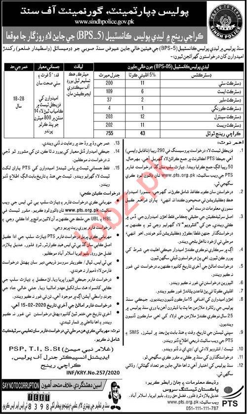 Sindh Police Department Jobs For Karachi Region via PTS